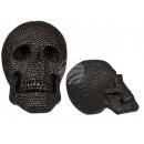 Zwarte Polyresin schedel met glas stenen,