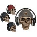 Polyresin money box, skull with fishing cap &