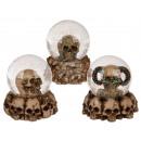 nagyker Hógömbök: Polyresin Glitter Ball, koponya, kb. 8 x 8 cm, 3 f