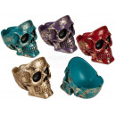 wholesale ashtray: Polyresin Ashtray, Shiny Skull, approx. 12 x 8.5