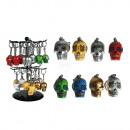 Metall-Schlüsselanhänger, Polyresin-Coloured Skull