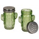 Glass salt & pepper shaker, cactus, mason jar
