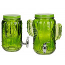 Glass drink dispenser, mason jar cactus