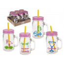 Drinking glass, retro buzzer, mason jar with handl