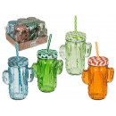 Drinking glass, cactus, mason jar with handles, me