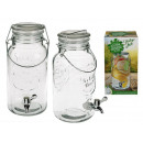 Glass drink dispenser, mason jar, with metal handl