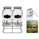 Double Glass Beverage Dispenser, Mason Jar, with M
