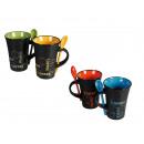 Black Ceramic Mug with spoon, Coffee, ca. 12 x 9 c