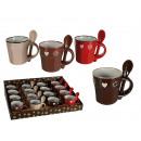 wholesale Cutlery: Mini stoneware mug  with spoon, Hearts & Blossom, c