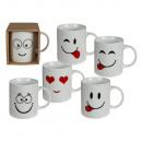 Porcelain mug, Funny Face, about 10 x 8 cm, 6-fac