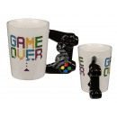 Porcelain Mug with Controler Handle, Game Over, c