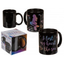 Black earthenware mug, mermaid