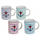 Ceramic Mug, Anchor & Stripes, approx. 9 x 8 c