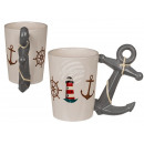 Ceramic mug, maritime with anchor handle