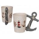 Tazza in ceramica, marittima con manico di ancorag