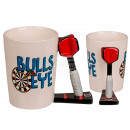 Ceramic Mug, Bulls Eye with Dart Arrow Handle, app