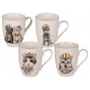 New Bone China Mug, Cat with Gold Crown