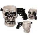 Ceramic mug, skull with pistol grip