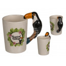 Ceramic mug, tropical feel with toucan handle