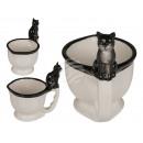 Kupa, WC-csésze macskával, kb. 13 x 9 cm