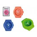 Silicone alarm clock, Watch, ca. 6,5 x 6 cm, 4 col