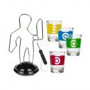 Großhandel Geschenkartikel & Papeterie: Trinkspiel, Der heiße Draht, mit 4 Gläsern