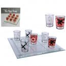 Großhandel Partyartikel: Glas-Trinkspiel, Tic Tac Toe, mit 9 Gläsern