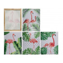 Picture, Tropical Flamingo, linen on wooden frame,