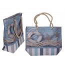 Großhandel Handtaschen: Blauer Shopper, Rettungsring & Seestern