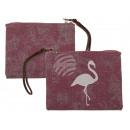 Pink bag, flamingo, with imitation leather henk