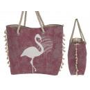 Pink shopper, flamingo, with drawstring, n