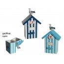 wholesale Decoration: Wooden box, beach house, approx. 18 x 8 x 5 cm