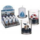 groothandel Kaarsen & standaards: Decoratief glas,  Maritim, ongeveer 7 x 6 cm, met k
