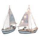 grossiste Articles Cadeaux: voilier en bois  avec 13 LED blanc chaud, environ 2
