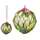 Green glass ball in the net, with 12 colorful LED,