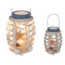 Houten lantaarn met Muscheldeko en 20 warm witte L