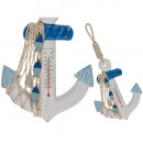 wholesale Weather Stations: White / blue wall thermometer, anchor, approx. 17