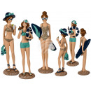 Polyresin figure, beach lady, about 21.5 cm