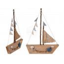 Barca in legno naturale colorata, Maritim, circa 2