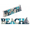 Wood lettering, Beach with sailing ship