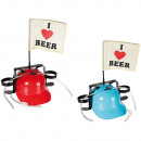 Drinking helmet, I love Beer with flag, 2 colours