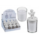 White candle in glass with polyresin angel with st