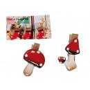 grossiste Magnetique: Aimants rouges aux  points blancs & clip en bois, 3