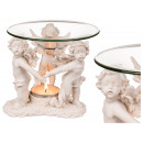 Polyresin oil burner, with glass bowl, three stand