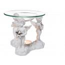 Großhandel Duftlampen:-Polyresin  Aromalampe mit  Glasschale, Drei ...