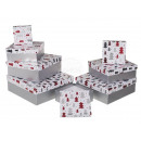 Caja de regalo blanca con decoración roja / platea