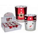Glas-Teelichthalter, Weihnachten mit Glitterdekor,