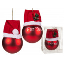 Red Christmas tree ball made of glass with cap, Fo