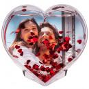 3D-Acrylic glitter heart waterglobe with heart fo