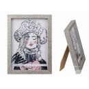 Wooden Picture Frame, Silver Glitter, 13 x18 cm